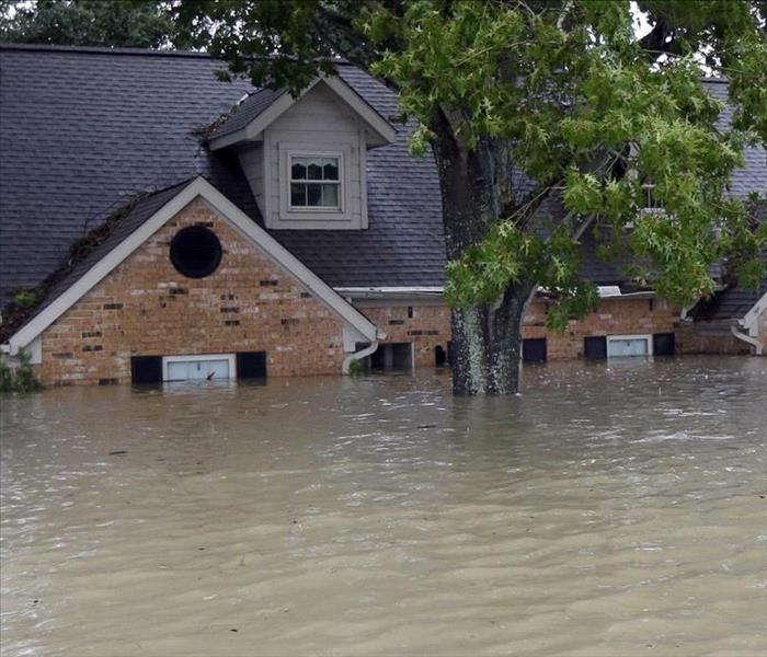 House affected with storm flood.
